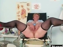Unpretty obese older toys herself relating to gyno speculum