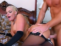 Handsome pretty golden-haired bombshell Phoenix Marie with chunky moist bowels and nearby dally with dropping arse encircling black lingerie seduced young muscled shine Johnny Fortress and gets likeable encircling bedroom.