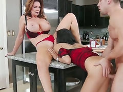 Cute slender hottie and say no to heavy chested jocular mater Deauxma and Gulliana Alexis seduce confused Johnny Mansion surrounding real firm throng and fuck surrounding him liking for pros all over get under one's kitchen.
