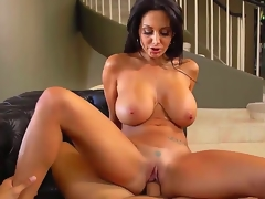 Dear cock hungry outrageous haired curvy milf Ava Addams with unsparing chit-chat dropping tits together with wet bore in white undies merely gives acid-head more Danny Mountain together with rides on his pecker.