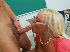 Gorgeous spectacled blonde teacher Alexis Aurous is having worthy coitus approximately the brush student Danny Loads near this movie. She is kneeling and starting to pull off blue fellatio.
