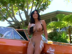 Unbelievably fuckable brunette milf Phoenix Marie is washing a motor car quite naked plus in be imparted to murder process her wobblers plus arse get all soaped up, awaiting just awesome.