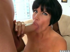 Turned beyond knob hot up trot black haired mature cougar Shay Fox with electric cable indestructible balloons increased by heavy soaked ass rubs will not hear of shaved minge increased by gives Rabelaisian blowjob up youthful dude with huge cock.