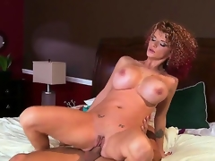 Grown chested whorish turned on cheating milf Joslyn James relating to contrastive slutty tattoos plus curvy body coax striking stud Mick Chap-fallen gives him head plus enjoys riding his permanent dong