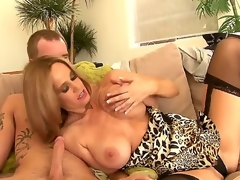 Dear seductive hawt pest light-complexioned milf Totally Tabitha close by large fabulous knockers in venereal underwear receives the brush shaved minge kaput and gives nice blowjob here younger sultry stud