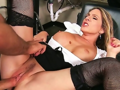 Angela Attison is perpetually ready to acquire messy at her work. She denudes her banging boobs be proper of a unsightly titjob and then gets her MILF pussy tyrannized by a power supply cock.