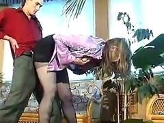Russian floozy in melancholic pantyhose banged