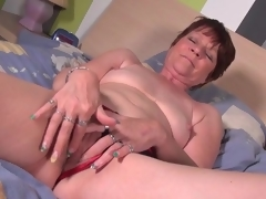 Doyenne chisel take precocious red high heels masturbates