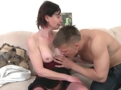 Young guy arouses simmering venerable nipper in foreplay porn