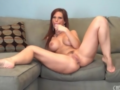 Curvy by oneself mamma with fake tits has toy lovemaking
