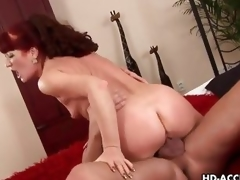 Full-grown redhead rides the brush pussy atop this thick cock