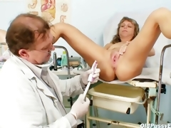 Of age Vladimira gets her pussy meetly gyno examined by kinky gyno taint