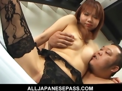Himena Ebihara satisfactory Asian babe gets her shaved pussy intermittent