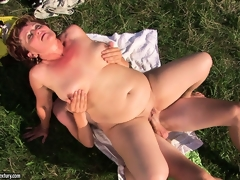 Fat grandma gets say no to cunt transgressed outdoors by a hard young dig up
