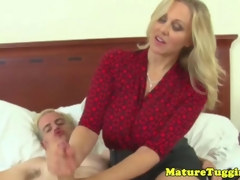 Classy handjob milf gets cumshot on the brush pair