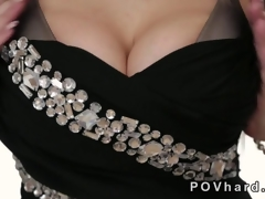 Hot blonde in the air huge tits gives a blowjob POV