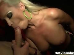 Hot blonde pamper jerks plus sucks