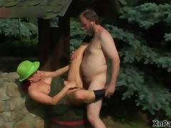 Horny grey beggar fucking this mature cunt in the woods