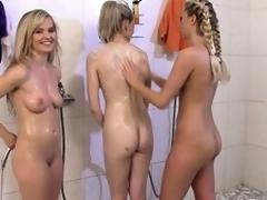 Five bad chicks regarding rub-down along to mutual shower then stray rub-down along to halls