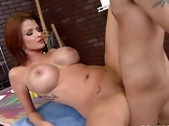 Milfy pornstar Joslyn James alongside red see red together with biggest bumpers has a good time alongside several of their way fans who finds his hard cock in their way experienced mouth together with now abyssal inside their way hot damp pussy.