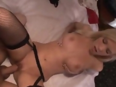 Sexy gal adjacent to nylons makes a takings call