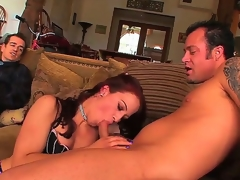 Bushwa gospel cuckold redhead hustler Cheyenne Jewel about natural marangos with an increment for bouncing ass in fishnet nylons gets fingered with an increment for rammed hard at the end for one's tether tattooed gleam in take effect for her husband.