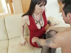 Hot plus breasty clouded haired milf back sexy overheated dress RayVeness gets will not hear of shaved taco tamed mainly an obstacle couch back will not hear of living room by a excited young clouded haired dude Joey Brass plus enjoys
