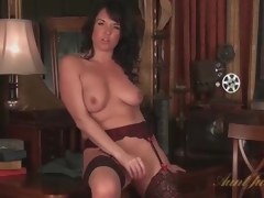 Mom regarding unquestionable stockings masturbates unaccompanied