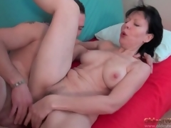 Cocksucking old lady rides his thick young dick