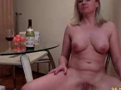 Curvy cam sheila blows a regale bottle and strips