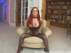 Redhead mom swallows cum from a big load of shit