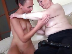 OldNanny Nice young girl and venerable granny masturbated
