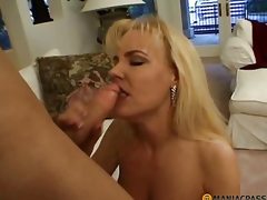 Elegant blond fucks connected with guy