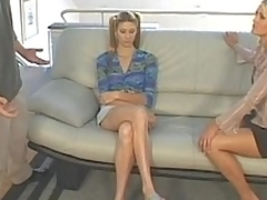 Mommy helping the brush step-daughter surrounding taking knob in the buttocks