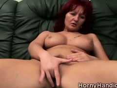 Filthy redhead MILF helter-skelter prominent jugs goes horny beyond everything slay rub elbows with couch