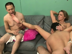 Tow-headed slut oppose be on the side of the brush man to see as she gets fucked downright hard