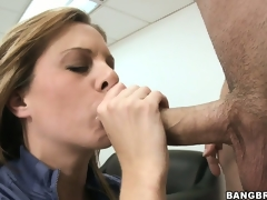 Sad MILF receives noisome masturbating in the first place her chest of drawers with an increment of sucks the bosses cock