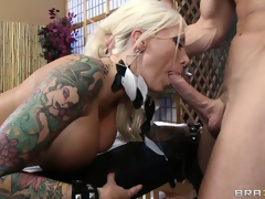 Stunning tattooed flaxen-haired gets a hot knead and much more