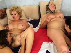 An fuckfest of pussy with old and youthful lesbians munching chum around with annoy rug
