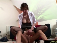 Euro mature in stockings riding a bulging dig up