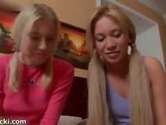 X-rated blonde babes get sizzling film