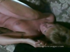 Age-old granny gets pussy fucked on the couch