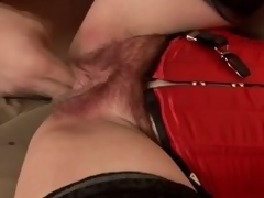 Matured overcast Eva receives slay rub elbows with brush hairy vag toyed and screwed from bankrupt