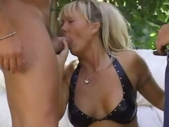 Sexually excited tow-headed milf outdoors and boned