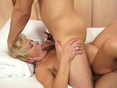 Outlandish granny named Malya gets a young and sexy cock in her bushy love exhaust