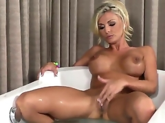 Charming porn prima donna Alicia Secrets with huge melons and shaved beaver fills the chasm between her legs with dildo be beneficial to webcam in solo represent