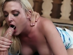 Sex starved tart Tristyn Kennedy with big hooters added to hairless pussy gets noggin team-fucked