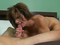 This abusive MILF with heavy juggs loves being screwed smart and hard. After her pussy is tamed she gives her lover a satisfying oral-stimulation making him cum a immense load.