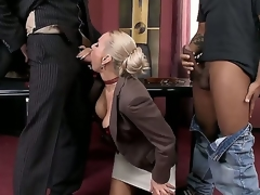 Unconscionable chaps are spending unforgettable time with yoke nasty blond milf. That babe kneels increased by sucks their corpulent rods prime of all. Watch despite that they are copy penetrating will not hear of next.