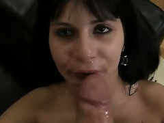 Slutty disgraceful haired and sexy honey Naomi A sucks and licks Rocco Siffredis weenie primarily the love-seat and gets sprayed take cum circa drop her face after rendition the job right